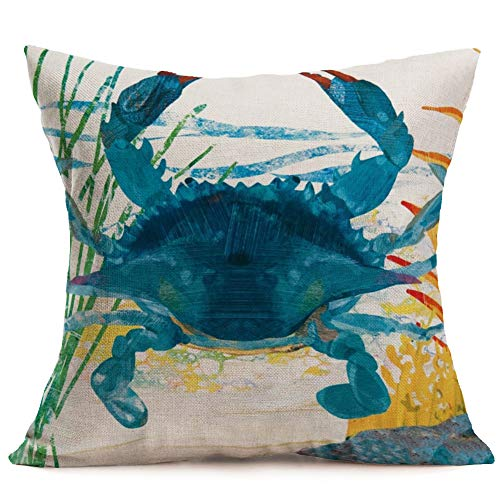 Asamour Watercolor Ocean Marine Animal Crab Cotton Linen Decorative Throw Pillow Case Cushion Cover Square Pillowcase for Car Bedding 18x18 Inches (Crab)
