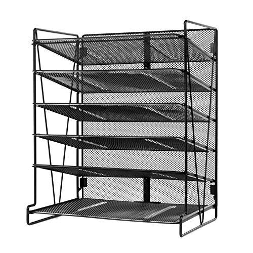 SamStar, vaschetta portacorrispondenza da scrivania su 6 livelli, realizzata in rete metallica. Ideale per l'ufficio, di colore nero