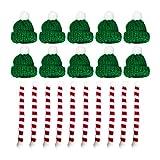 Holibanna 20pcs Mini Christmas Knit Hat Scarf Doll Hat Scarf Dog Costume Wine Bottle Decor