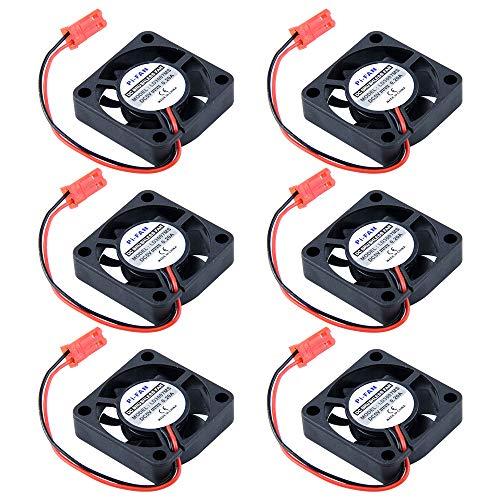 Ventilador de enfriamiento sin escobillas de CC de 6 piezas 30x 30x7mm Refrigerador del disipador de calor Conector del radiador Interfaz de encabezado hembra 3.0V 5.8V 13200RPM 18dB para Rpi Pi