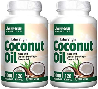 Jarrow Extra Virgin Coconut Oil 1000 Milligrams Organic Dietary Supplement 120 Softgels Pack product image