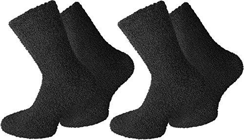 normani 2 Paar Weiche Damen Kuschelsocken Farbe Uni/Schwarz Größe 39/42