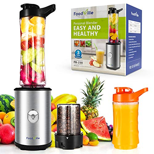Image of Foodville PB230 2 in 1 Personal Smoothie Blender and Electric Coffee Grinder with 20oz + 10oz Travel Bottles, 2 Drinking Lids and Grinder Jar: Bestviewsreviews