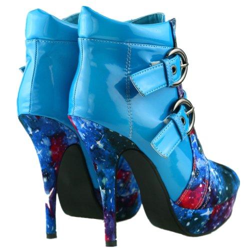 Show Story Blue Buckle Night Sky High Heel Stiletto Platform Ankle Boots,LF30301BU40,9US,Blue