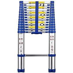 Ollieroo EN131 Aluminum Telescopic Extension Ladder with Spring Loaded Locking Mechanism 330lb Non-slip Ribbing 12.5ft Capacity