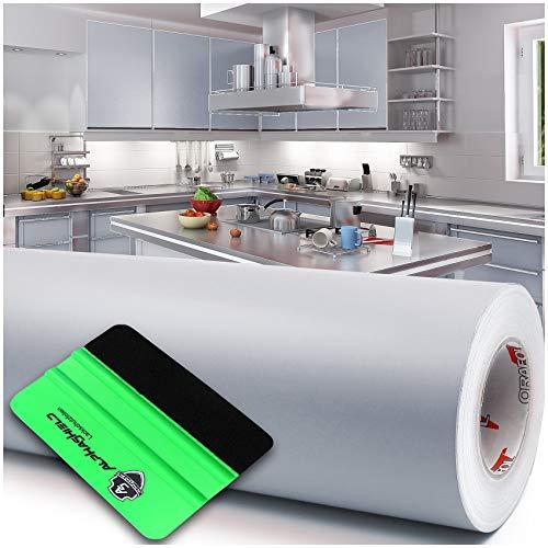 Lámina para plóter + rasqueta brillante o mate, 10 m x 63 cm, para muebles, cocina o baño, color gris claro y mate