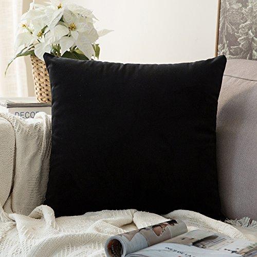 MIULEE Confezione da 1 Federa in Velluto Copricuscino Decorativo Fodera Quadrata per Cuscino per Divano Camera da Letto Casa Auto 60X60cm Nero