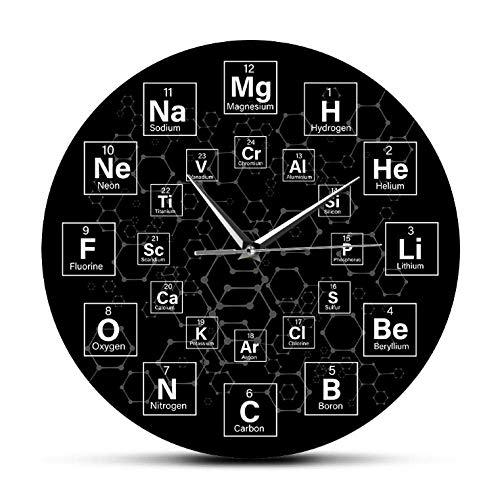 kyman Símbolos químicos Tabla periódica Cadena Molecular Descomposición y fusión Reloj de Pared Ciencia Artista de la casa Decoración de la Pared Reloj-30x30cm