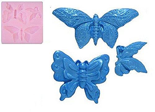Siliconen mal voor voedsel gebruik van 3 vlinders - suikerpasta - fondants - cakes - pannenkoeken - muffins - decoraties