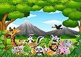 AIIKES 2.1Mx1.5M/7x5FT Selva Animales Telón de Fondo de la Fotografía Bebé Niños Cumpleaños Fondo de Fotografia Decoración Pared Foto Estudio 11-092