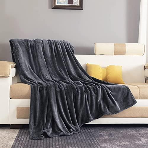 Mantas para Sofa Gris Oscuro 150 × 200 cm, RATEL Mantas para Cama de Franela Reversible, Mantas Ligeras de 100% Microfibra - Fácil De Limpiar - Extra Suave Cálido