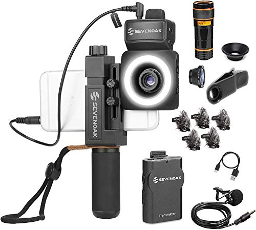 SmartCine W1 YouTuber Kit with Phone Rig, Wireless Microphone, LED Light, Fisheye Lense for iPhone and Android by Movo