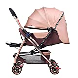 Yhz@ Cochecito de bebé Ligero Portable High Landscape Puede Sentarse y acostarse Plegable Simple Handle Reversible Suspension Neonatal Buggy Baby Trolley Sillas de Paseo (Color : Caqui)
