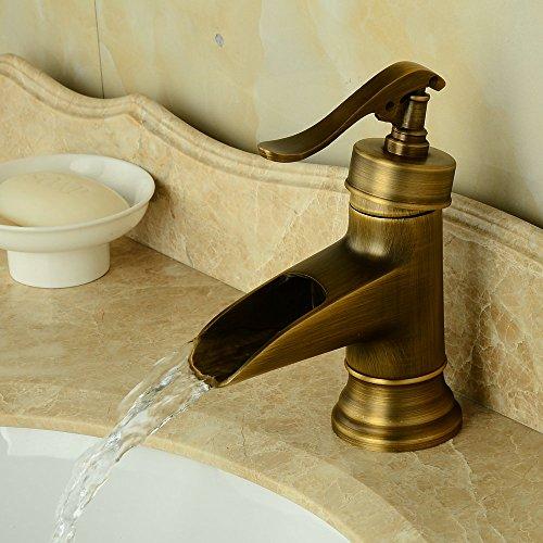 Hiendure Ottone bagno miscelatori lavabo rubinetti lavandino del bagno cascata mount ponte un foro una maniglia, ottone anticato