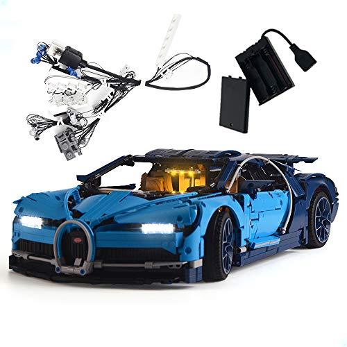 GEAMENT Kit de luz LED de versión mejorada para Technic Bugatti Chiron – compatible con modelo 42083 LEGO Race Car Building (juego LEGO no incluido)