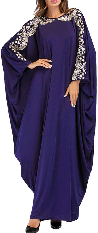 QINJLI Ladies Dress, Muslim Sequins Bat Sleeve Robe Large Size Women's Long Skirt