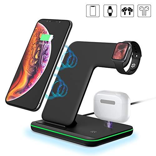 Kabelloses Ladegerät, 3 in 1 Qi 15W Schnellladestation Ladestation Ständer Kompatibel iPhone 11 Pro Max /XS MAX/XR/X/8/8 Plus, Apple iWatch Serie 5/4/3/2/1, AirPods, Samsung S10 S9 S8 HUAWEI, Schwarz