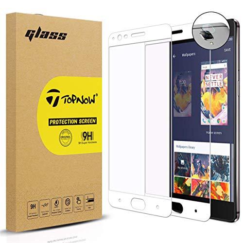 Topnow [2 Pack] Protector de Pantalla + Película de Lente for OnePlus 3 / OnePlus 3T, 2.5d Cobertura Completa 9H Dureza Vidrio Cristal Templado para One Plus 3 / One Plus 3T - Blanco White