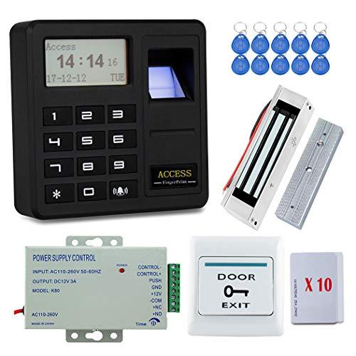 YAVIS Tür Access Control System Kit Set mit Biometrische Fingerabdruck-Controller-EM-Tastatur Codeschloss Türöffner, 180KG 350lbs Elektrische Magnetschloss, Netzteil, Exit-Taste, 20 Stück ID-Karten