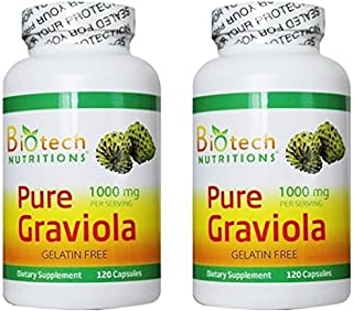 Biotech Nutritions Pure Graviola, 1000 mg, 240 Capsules (120x 2 Pack)