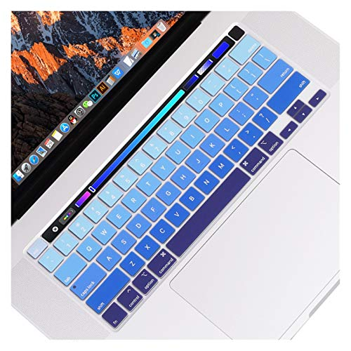 Waterproof Anti-Dust For MacBook Pro 16 inch with Touch Bar and Touch ID Model A1932,Protector Silicone Keyboard Cover Skin US Verstion protective case (Color : Gradient blue)