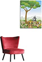 longbuyer Wall Picture Decoration Cartoon Cheetah with Skunk and Fox in The Jungle Mural 16