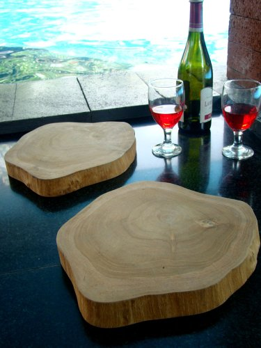 "WholesaleTeak New Grade A Teak Wood Round 9"" to 10"" Diameter Trivet/Dish holder Mat Set - Includes Qty 2#WHAXTT"