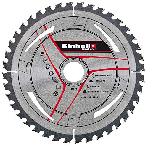 Einhell Lame de coupe fine en métal dur (accessoires de scie stationnaire, 40 dents, vitesse de rotation max. 6000 tr/min, Ø 210 x Ø 30 x 1,8 mm)