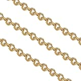 PH PandaHall 30 Feet Golden Soldered Rolo Chain Stainless Steel Chain Jewelry Making Chains for Pendant Necklace DIY Making 2x1.8x0.3mm