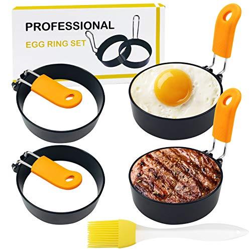 4 anelli per uova per arrostire le uova, in acciaio inox, rotondi, per uova e pancake, con manico anti-scottatura e pennello per olio, anello antiaderente per colazione, muffin, pancake