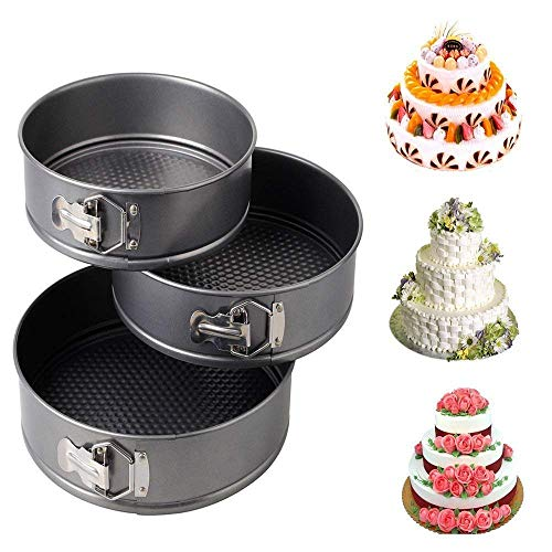 Rangwell Teflon Coated Spring Form Cake Mould Pan Set, Baking Tray, Removable Cake Mould, 3 Pcs, Black