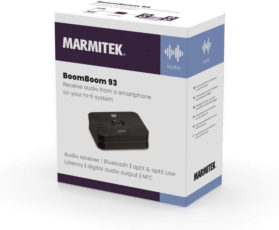 digital audio output Marmitek BoomBoom 93 Bluetooth Black NFC Audio receiver multipair partymode aptX aptX low latency