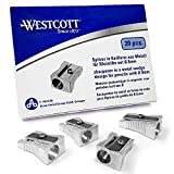 Westcott Single Hole Pencil Sharpener - Metal Wedge Design - Box of 20 - E-14210