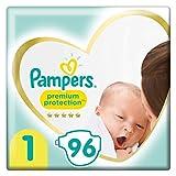 Pampers Couches Premium Protection Taille 1 (2-5kg) notre N°1 pour la protection des peaux sensibles, 96 Couches