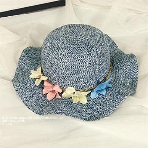 Sombrero De Paja Para Padres E Hijos Excursión Para Madre E Hija Sombrero De Playa Hecho A Mano Sombrero Para El Sol Con Lazo Para Niños Sombrero Para El Sol Verano Femenino-Blue-Adult (56-58C