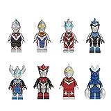 XINKANG Juguetes Ultraman 8pcs / Set 5cm Ultraman Building Block Juguetes Rosso Baltan-seijin Orb Geed BLU Tiga Dyna Niños