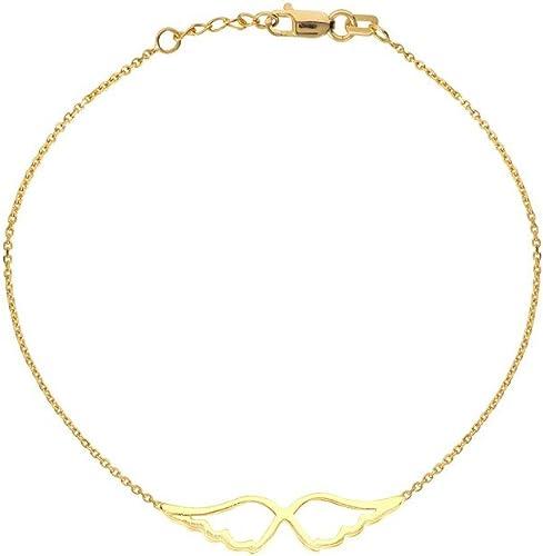 barato Pulsera ajustable de alas de oro amarillo amarillo amarillo de 14 quilates de 19 cm  Felices compras