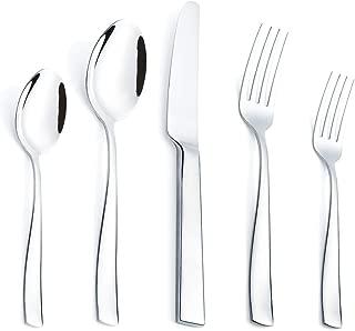 40 Piece Silverware Flatware Set 18/8 Stainless Steel Cutlery Modern Square Design Eating Utensils Set Service for 8 Tableware Forks Spoons Knives Sets Mirror Finished, Dishwasher Safe