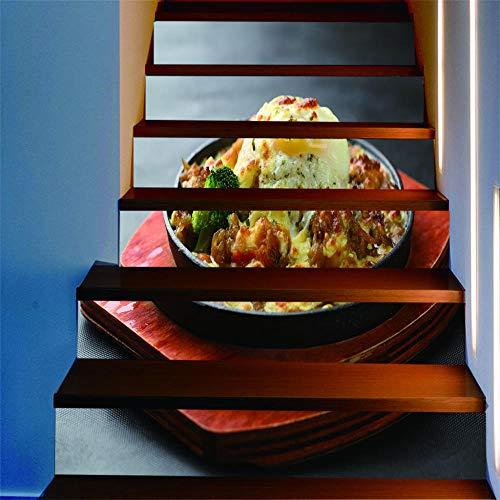 ZXFMTQ 3D Gourmet Wasserdicht Abnehmbare Selbstklebende Leckere Reis Aufkleber Home Decor Käse Reis Treppen Aufkleber