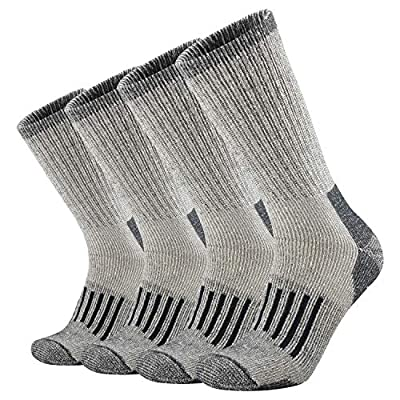 ONKE Men's Merino Wool Moisture Wicking Thermal Outdoor Hiking Heavy Cushion Crew Socks 4 Pack(Navy L)