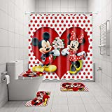 4PCS Mic-Key and Min-nie Mouse Shower Curtain Sets with 12 Hooks, Non-Slip Bathroom Mat Toilet Rug Bath Mat, Mic-Key and Min-nie Waterproof Bath Polyester Curtain for Bathroom