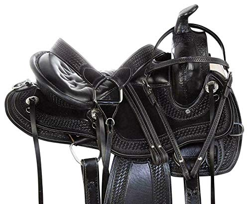 Open Store Genuine Leather Western Racing Horse Saddle Gaited Bars Padded Seat(Size Available-14'' Seat to 17'' Seat)