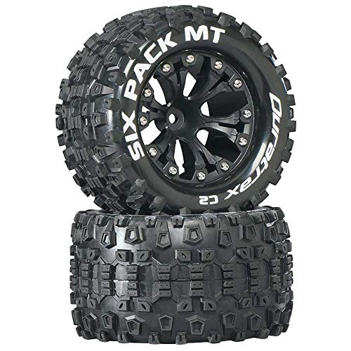 """Duratrax Six Pack MT 2.8"""" 1/10 RC Monster Truck Tires with Foam Inserts: C2 Soft, Mounted, 6-Spoke Front/Rear Wheels, Black, 1/2"""" Offset, Set of 2"""