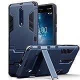 TERRAPIN, Kompatibel mit Nokia 8 Hülle, Silikon + Polycarbonat Tasche mit Standfunktion - Dunkelblau