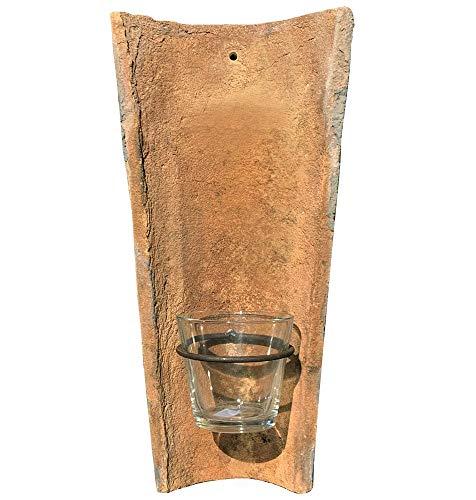 zeitzone Wandkerzenhalter Echt Antiker Dachziegel mit Glas Windlicht Teelichthalter
