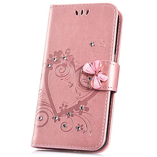 JAWSEU Compatible avec Samsung Galaxy A70 Coque Portefeuille PU Étui Cuir à Rabat Magnétique Coeur d'amour Bling Glitter Brillant Papillon Fleur Diamant Strass Leather Flip Wallet Case,Or Rose