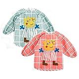 My Sunshine – Juego de 2 Delantal Impermeable de Manga Larga con diseño de Peppa Pig – Babero de alimentación para niños de 1 año a 3 años Rose-Vert Talla única