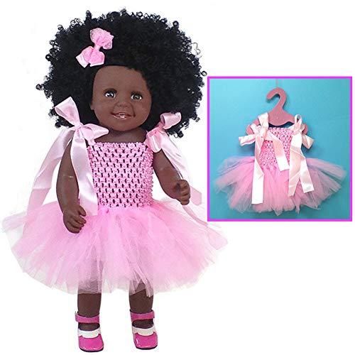 QqHAO 18-Zoll-weiche Baby-Puppe Artificial Neugeborenes Baby Doll Vinyl Realistic Ganzkörper Neugeborenes Puppe Interaktives Spiel Kleinkind-Jungen-Mädchen-Geburtstags-Geschenk (Rosa Rock),3