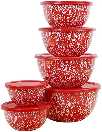 Calypso Basics by Reston Lloyd Marble 12 Piece Enamel on Steel Bowl Set, Red