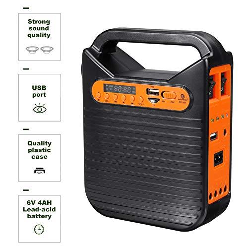 QYRL Generador De Energía Solar Bluetooth Kit De Panel De Sistema Casero del Cargador con MP3 Radio / 3 Bombillas LED USB para Carga De Emergencia De La Linterna De Iluminación